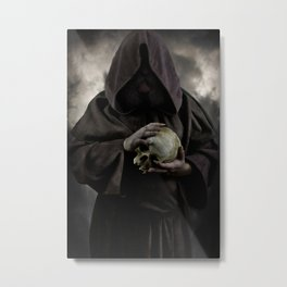 Holding a male skull Metal Print