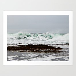 Green Wave Breaking Art Print