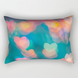love background with pastel colors hearts on the Valentine's day Rectangular Pillow