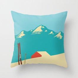 Vintage Mountains Throw Pillow