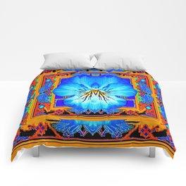 Orange Southwest Blue pansy Patterned Art Design Comforters