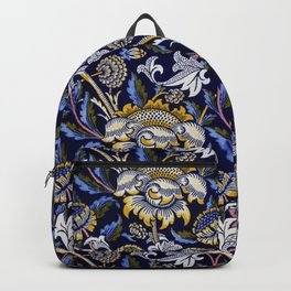 William Morris Blue Wey Floral French Textile Pattern Backpack