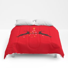 Star Christmas Tree with reindeer - Red Comforters