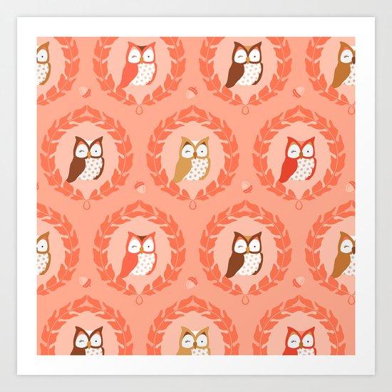Sweet Owlies - Dawn Art Print