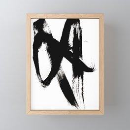 Brushstroke 2 - simple black and white Framed Mini Art Print