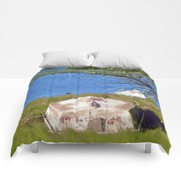 Painterly Photo Illustration Small Boat in Grass Under Summer Sun, Cape Cod Comforters