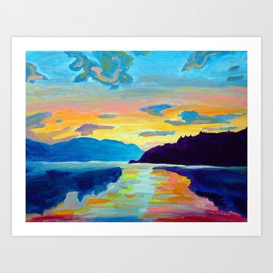 Crossing Lake Okanagan Art Print