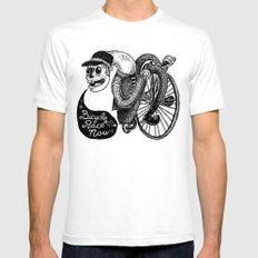 Bicycle Race Now! White SMALL Mens Fitted Tee