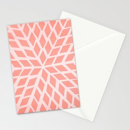 Coral Pink Mosaic, Moroccan Tile Pattern. Stationery Cards