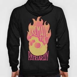 Cremate the Patriarchy orange Flaming Skull @mod_mortician Hoody