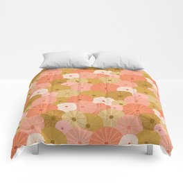 Sea Urchins in Coral + Gold Comforters