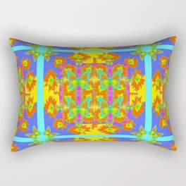 BOHEMIAN STYLE QUILTED TURQUOISE BUTTERFLIES & FLOWERS Rectangular Pillow