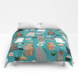 Cat breeds pure bred cats sushi kawaii pet gifts cat person must haves Comforters