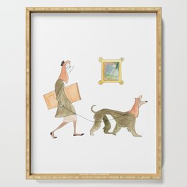 Artist and Dog Serving Tray
