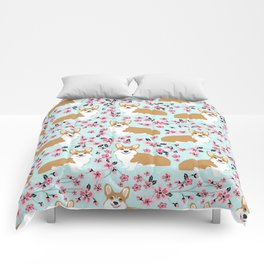Corgi cherry blossom florals dog must have cute welsh corgis gifts pure breed Comforters