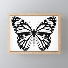 Monarch Butterfly   Black and White Framed Mini Art Print