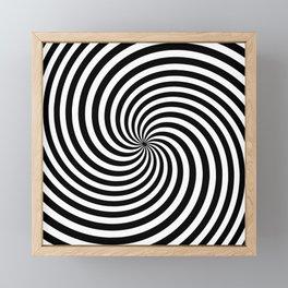 Black And White Op Art Spiral Framed Mini Art Print