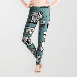Smile action toy camera vintage photography pattern Leggings