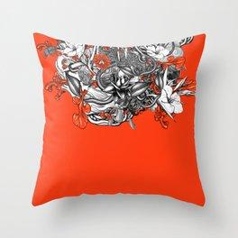 Flower Power Orange Throw Pillow