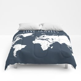 Love Travels World Map in Navy Blue Comforters