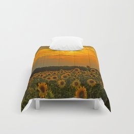 Field of Sunflowers at Sunset Comforters