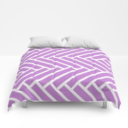 Lilac and white herringbone pattern Comforters