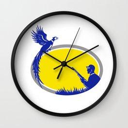 Hunter and Pheasant Bird Oval Retro Wall Clock