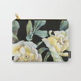 Velvet Tulips on Black Background Carry-All Pouch