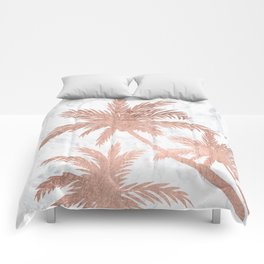 Tropical simple rose gold palm trees white marble Comforters