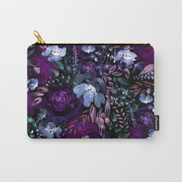 Deep Floral Chaos blue & violet Carry-All Pouch