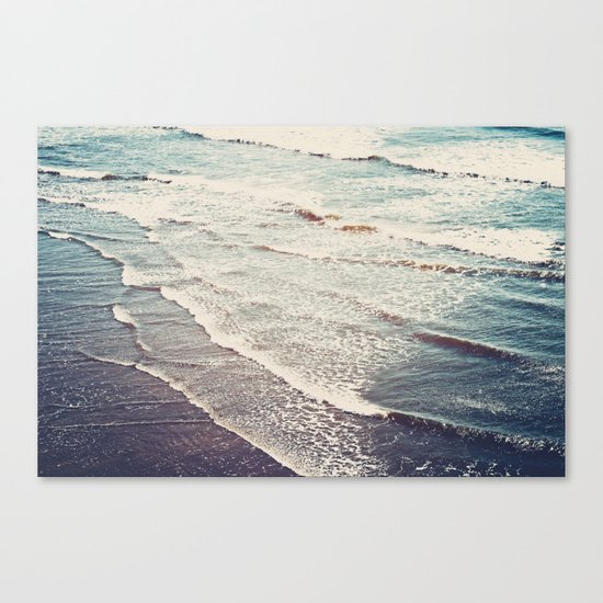 Ocean Waves Retro Canvas Print