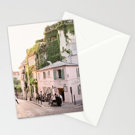 La Maison Rose, the cutest pink café in Paris on a summer evening Stationery Cards