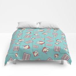 Funny Ironic Advisory Unicorn Message Pattern Comforters