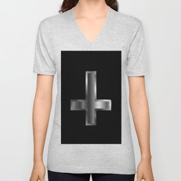 An inverted cross- The Cross of Saint Peter used as an anti-Christian and Satanist symbol. Unisex V-Neck