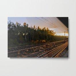 Golden Tracks I Railway I Sunset I Travelling I Photography  Metal Print