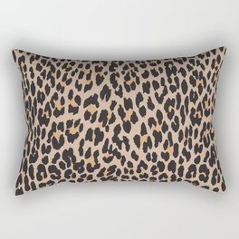 Animal Print, Spotted Leopard - Brown Black Rectangular Pillow
