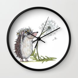 Hedgehog & Dandelion Wall Clock
