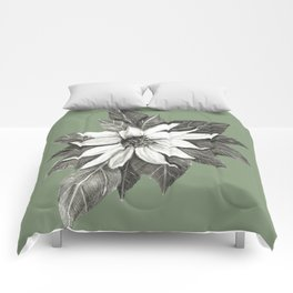 Florida Flower with Green Background Comforters