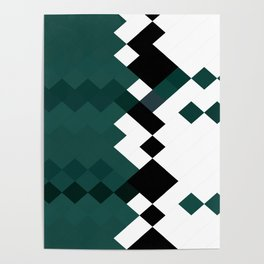 Emerald Green White Black Geometrical Pattern Poster