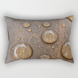Water Drops on Wood 4 Rectangular Pillow
