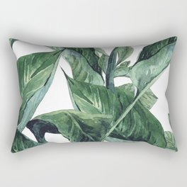 Watercolor Tropical Green Leaves Rectangular Pillow