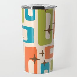 Retro Mid Century Modern Abstract Pattern 921 Orange Chartreuse Turquoise Travel Mug