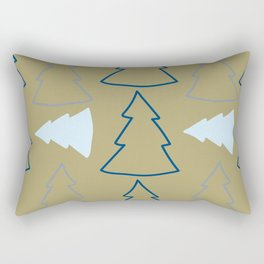 Blue and Silver Trees Rectangular Pillow