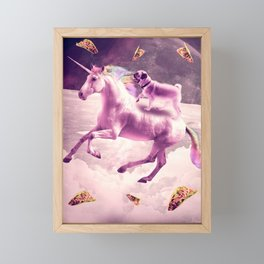 Space Pug Riding On Flying Unicorn With Taco Framed Mini Art Print
