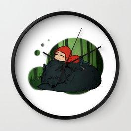 Sleepy Wolf Wall Clock