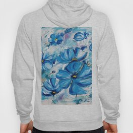 Abstract Blue Poppies Hoody