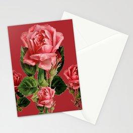 ROSE MADDER ANTIQUE VINTAGE ART PINK ROSES Stationery Cards