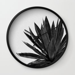 Agave Cactus Black & White Wall Clock