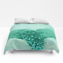 A Mermaid's Tail III, painterly coastal art, aqua metal Comforters