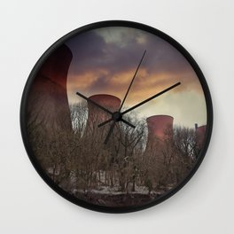 Sunset At Ironbridge Power Station Wall Clock